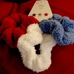 C&C Terry Cloth Red, White, Blue Scrunchies
